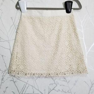 Ann Taylor LOFT Ivory Floral Lace A-Line Skirt